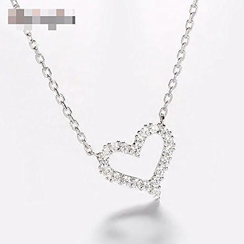 925 silberne Herz-Anhänger Collage Halskette Freundin Geschenk 47cm