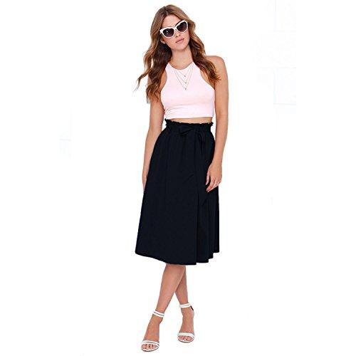 Minasan Sexy Sommer Midi Röcke Damen Plissierter Rock Kleid Elegant Wadenlang Rockabilly Faltenrock mit Gürtel XXL