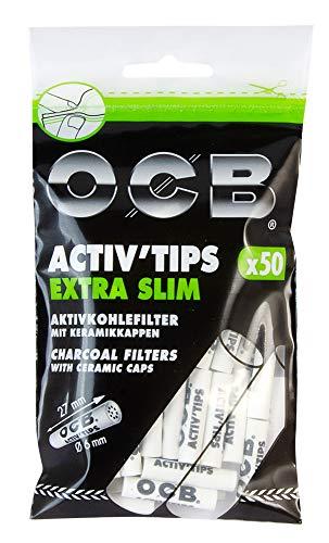 OCB ActivTips Extra Slim 6 mm-Aktivkohlefilter mit Keramikkappen-1 Beutel a 50 Stück, Weiß, S -
