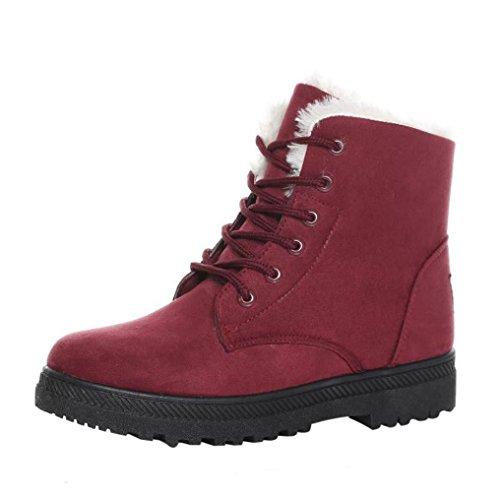 Botas, Manadlian Nuevo clásico Calzado cálido para mujer Arranque de nieve Botas cortas de invierno de moda (EU:38, Rojo)