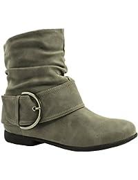Elara Damen Schlupf Stiefel | Gefütterte Schnallen Boots | Bequeme Stiefeletten| chunkyrayan