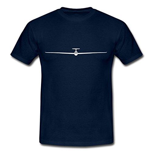 Spreadshirt Segelflugzeug Segelfliegen Flügelspannweite Männer T-Shirt, XL, Navy