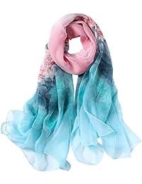 STORY OF SHANGHAI Femme Foulard 100% Soie Imprime Floral Coloré Grande  Echarpe Châle Ultra- 5a5f466174d