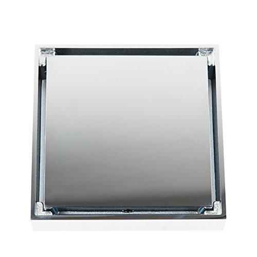 Sina-art Messing und Edelstahl Bodenablauf, 100x100 Duschrinne, DN 40, Anti-korrosion Badablauf Geruchsverschluss