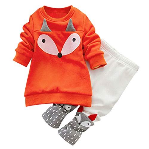 Hirolan Kleinkind Sweatshirt Outfits Baby Junge Mädchen Fuchs Drucken Lange Ärmel Plus Kaschmir Lange Hülse Top + Hosen Set Kleider (Orange 7, 80cm) -