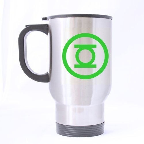 Green Mark Lantern Customized Personalized Travel Mug Sports Bottle Coffee Mugs Silver 14 OZ Office Home Cup Two Sides Printed by Custom Mugs