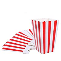 ‏‪Red Striped Popcorn Boxes - Carnival Parties Mini Paper Popcorn and Candy Containers, Party Supplies for Movie Nights (Pack 24)‬‏