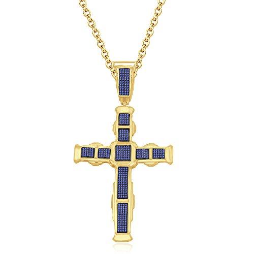 silvernshine Jewels HIS Ihr 14K Gelb Gold FN Tansanit CZ Diamanten Micro pave Kreuz Anhänger Halskette (Tansanit Halskette Kreuz)