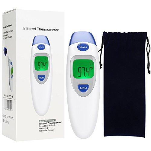 Termometro Auricolare a Infrarossi, Rainlax Termometro Medico per Fronte e Orecchie con Approvazione CE e ROHS per Bambini, Adulti,Oggetti ,Temperatura della Stanza, e Avertimento Febbre
