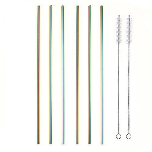 Lot de 6pailles en acier inoxydable ultra longues 27cm pour timbales de 60 ml à 90 ml (3 droites, 3coudées et 2brosses)