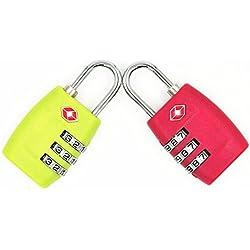 2-pack, jyhy TSA Aprobado cerraduras de combinación de 3dígitos–resistente y de alta candado de seguridad we search you save–Candado para equipaje, maletas, bolsas de viaje y gimnasio puertas (rojo y verde)