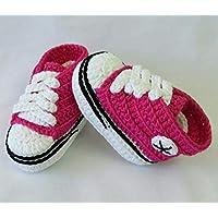 Patucos para Bebé, tipo Converse, 3-6 meses, Rosa Fucsia. Hecho a Mano. España