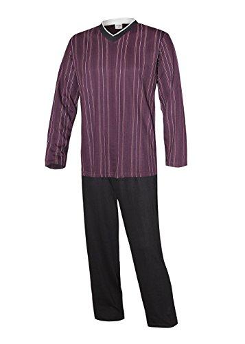 Herren Pyjama lang Herren Schlafanzug lang Hausanzug Herren aus 100% Baumwolle Gr XXL/58-60 (Nachtwäsche Pyjama Gewebte Hose)