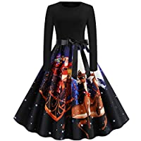Lucky H--Women Dress,Women Vintage Long Sleeve Christmas 1950s Housewife Evening Party Prom Dress for Wedding Party Evening Christmas Dress,Christmas Dress Women Vintage Printing Boho Autumn Dress