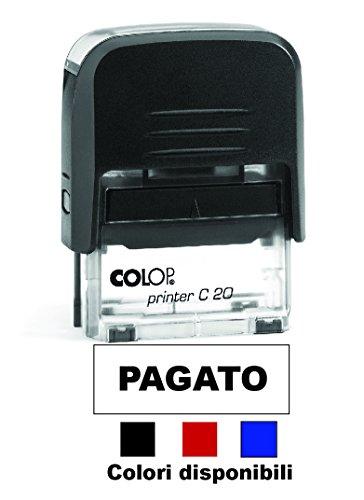 Timbro PAGATO Autoinchiostrante Pronto all'uso con Testo personalizzato Modello Colop Printer C 20 Commerciale Ufficio Scuola Lavoro Inchiostro disponibile in 3 colori (TAMPONE NERO)