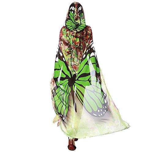FUGUI Schmetterling Kostüm, Damen Umhang mit Kapuze Schmetterling Flügel Schals Fasching Kostüm für Halloween Party Karneval (Grün, 140 x 100cm)