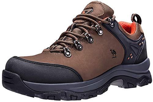 CAMEL CROWN Herren/Damen Leder Wanderschuhe wasserdicht Rutschfeste Outdoor Trail Trekking Schuhe,Khaki,44.5 EU Herren Wasserdicht Leder