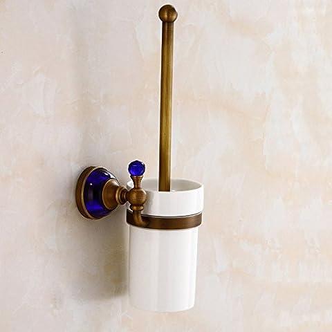 Antigüedades de latón sólido serie Cristal Azul wc portacepillos baño de estilo europeo con vidrio WC WC portacepillos portacepillos
