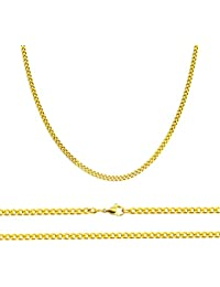 Aplstar Solid Gold Curb Chain Necklace 2mm thick 18ct Real Gold Plated Size: 16 18 20 22 24 inch/40 46 50 55 60 cm