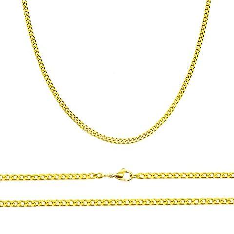 aplstar–Collier Femme–Chaîne gourmette en or massif Épaisseur 2mm plaqué or