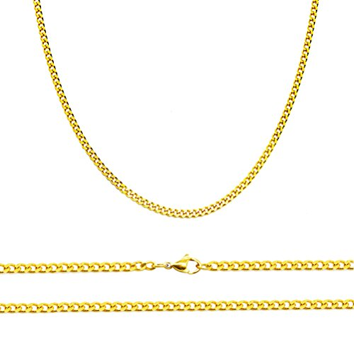 """Aplstar Collana con catena barbazzale in oro puro, spessore: 2 mm, in oro 18 carati, dimensioni: 16 18 20 60,96 (24"""") 22 cm, 40/45, 50 e 55, 60 cm, Oro giallo, cod. TRUKJW0044"""