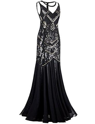 Kayamiya Damen 1920er Jahre Perlen Pailletten Maxi Lange Gatsby Flapper Abendkleid XL SCHWARZ