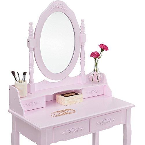 """Schminktisch """"Mira"""" rosa / pink mit Spiegel und Hocker - 3"""