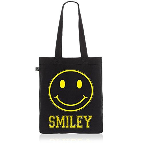 style3 Smiley Face Biobaumwolle Beutel Jutebeutel Tasche Tote Bag, Farbe:Schwarz