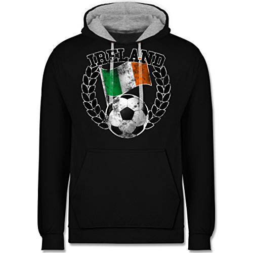 Fußball - Ireland Flagge & Fußball Vintage - Kontrast Hoodie Schwarz/Grau Meliert
