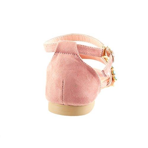 Angkorly Scarpe Da Donna Sandali - Gioielli - Tallone Blocco Bobble 1,5 Cm Rosa
