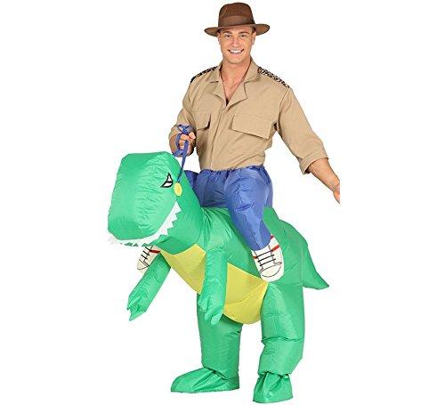 Imagen de disfraz hinchable cazador a hombros de raptor para adultos