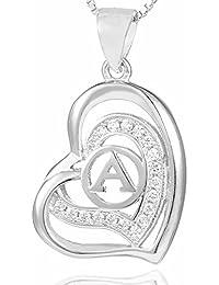Morella® Damen Halskette Herz Buchstabe A 925 Silber rhodiniert mit Zirkoniasteinen weiß 46 cm