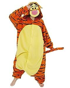 Samgu-Tigrou animal Pyjama Cospaly Party Fleece Costume Deguisement Adulte Unisexe (S(hauteur:150-160cm))