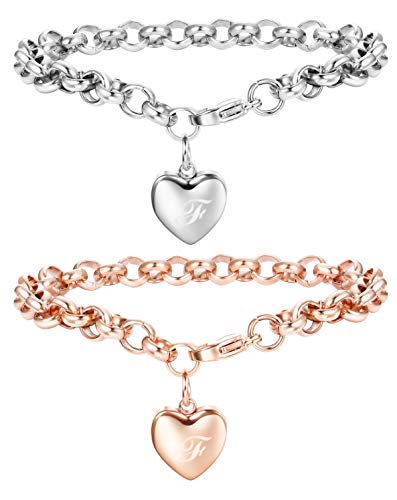 Yadoca 2 Pcs Herz Anhänger Armband für Frauen Mädchen Edelstahl Initiale Buchstabe Alphabet Charme Armband Armreif