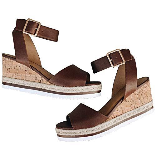 DoraTasia Damen Plateau Wedges Absatz Peep Toe Sandalen Slingback Ankle Buckle Flats Sandal Studded Platform Pump