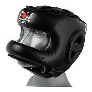 FOX-FIGHT KOPFSCHUTZ MIT BÜGEL (Nasenschutz) KOPFSCHUTS HEADGUARD / Leder (schwarz, S/M)