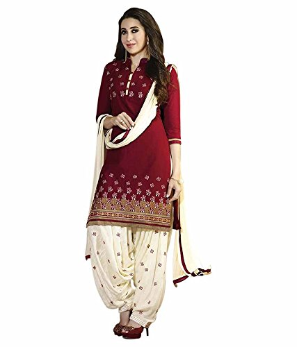 FKART Women's Cotton Embroidered Semi-stitched Salwar Suit (FK-1014RED_Free Size)