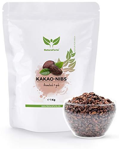 NaturaForte Kakao-Nibs - Ohne Zucker, Natürlich, Vegan, Rein und Glutenfrei, Intensives Aroma aus hochwertigen Cacao-Bohnen, Perfekt zum Backen und Kochen (1000g)
