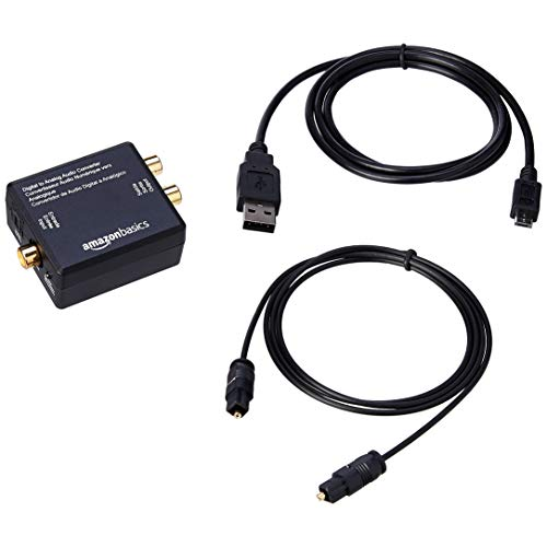 AmazonBasics Convertisseur numérique optique coaxial vers audio analogique RCA avec câble en fibre optique