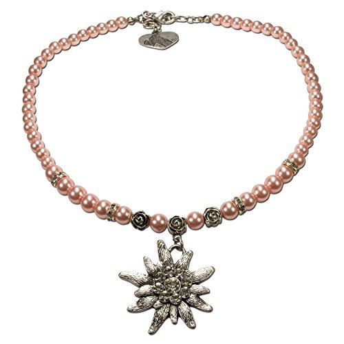 Alpenflüstern Perlen-Trachtenkette Fiona mit Strass-Edelweiß groß Damen-Trachtenschmuck rosé DHK054