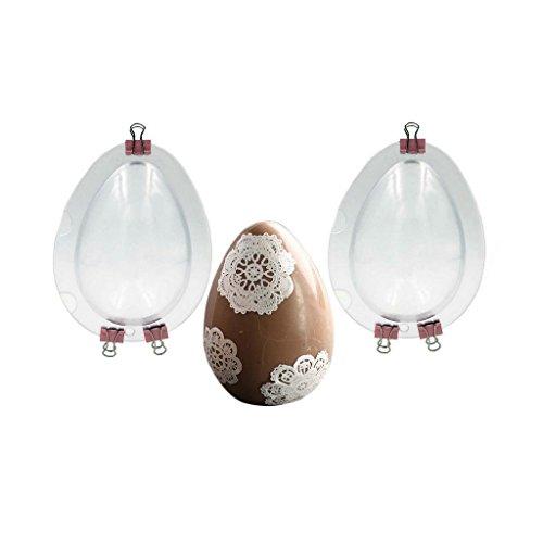 Jun - stampi per uova di pasqua, 2 pezzi, trasparenti con clip in metallo, stampi 3d a forma di uovo per cioccolato o fondente, decorazioni per il giorno di pasqua, per creare uova alte 10 cm