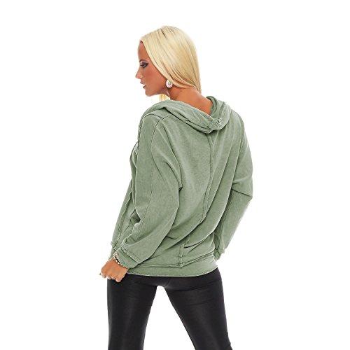 ZARMEXX Damen Sweatshirt Kapuzenpullover Vintage Hoodie Soft Cotton Oversize Longsleeve Pulli Grün