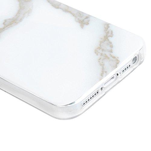 Lanveni Coque iPhone 5/iPhone SE,Housse étui TPU + Technologie IMD Silicone Marbre Ultra Hybrid Fine Mince Premium Gel Phone Case Crystal Clear Coque en Slicone iPhone 5 Rayure Blanc