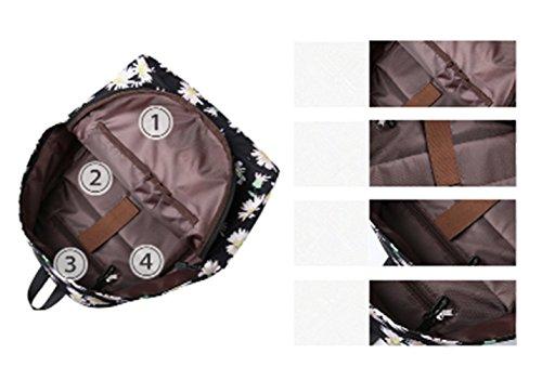 Schultasche für Teenager Leichte beiläufige Daypack Leinwand Tupfen Leichte zufällige Rucksack Laptop-Tasche (Floral5) Floral2