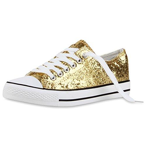 Japado Elegante Damen Sneakers Low Glitzer Canvas Schuhe Turnschuhe  Freizeit Gr. 36-41 Gold