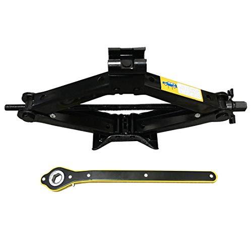 JueYan® 2T Gato de Tijera Elevador Tijera Manivela Familiar Levantador para Automóvil Gato de Coche para Camionetas SUV MPV Automóviles Negro
