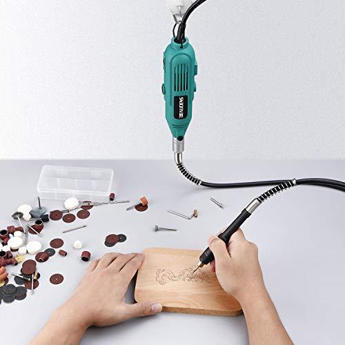 BEAUDENS Amoladora Eléctrica, Kit de herramientas rotatorias multifunción con 100 Accesorios giratoria avanzada de 6 velocidades con estuche para cortar/pulir / pulir/taladrar / esculpir