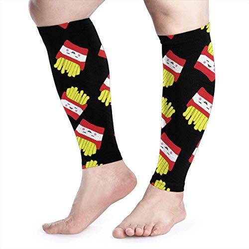 Bgejkos Cartoon Fries in Black Background Pattern Gear Socks Basketball Tights Wadenkompressions-Ärmel Professional Sports Knee Pads Equipment Friesen Satin