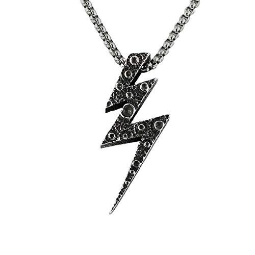 Halskette aus Edelstahl im Punk-Stil, Neuheitsschmuck mit Anhänger der Blitz im Sternenklaren Himmel