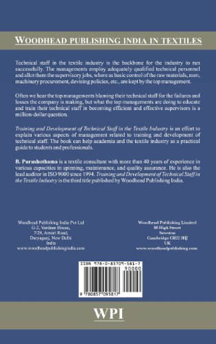 Training and Development of Technical Staff in the Textile Industry (Woodhead Publishing India in Textiles)